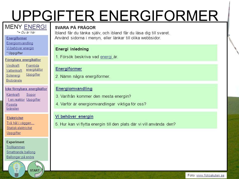 UPPGIFTER ENERGIFORMER