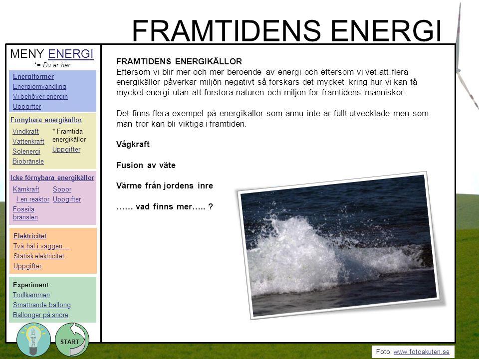 FRAMTIDENS ENERGI MENY ENERGI FRAMTIDENS ENERGIKÄLLOR