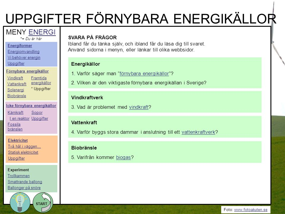 UPPGIFTER FÖRNYBARA ENERGIKÄLLOR
