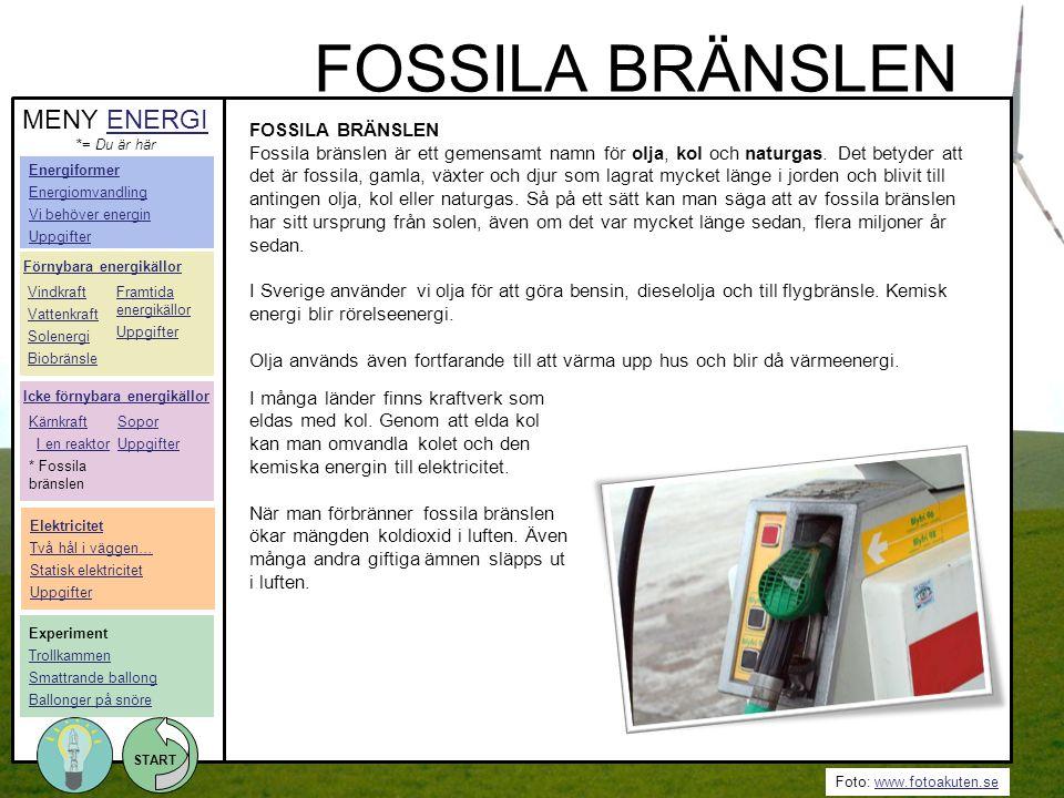 FOSSILA BRÄNSLEN MENY ENERGI FOSSILA BRÄNSLEN