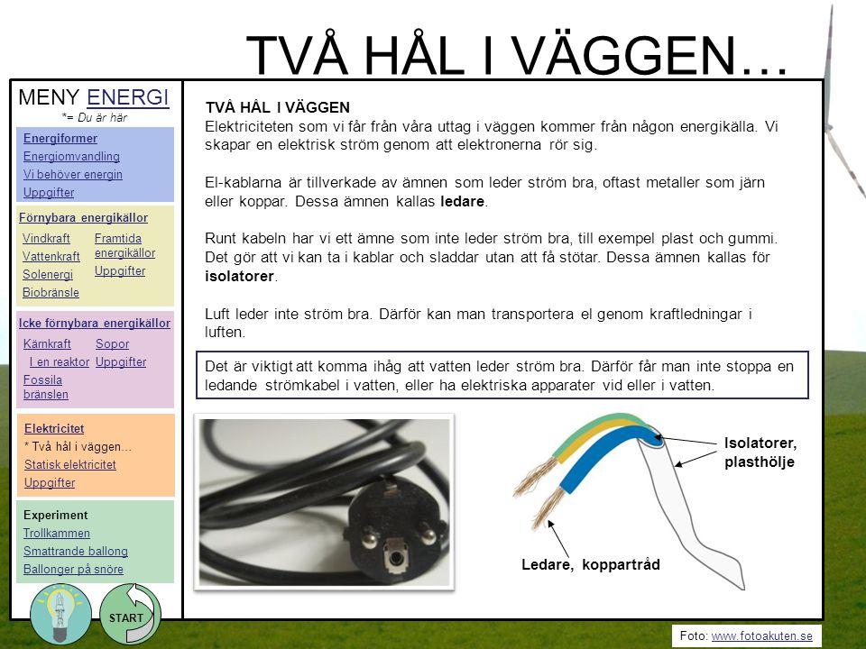 TVÅ HÅL I VÄGGEN… MENY ENERGI TVÅ HÅL I VÄGGEN