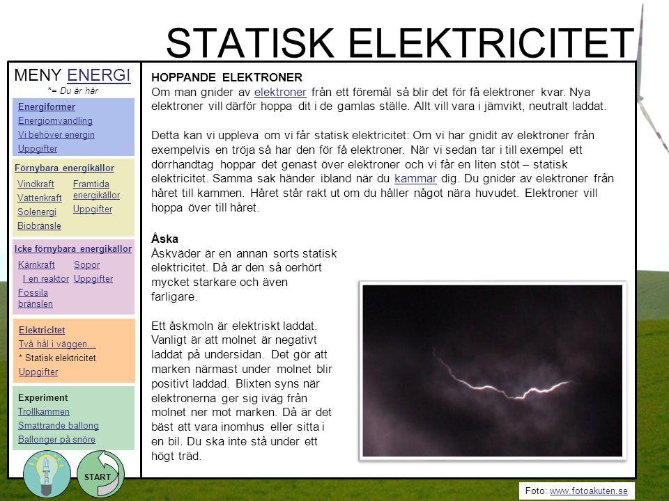 STATISK ELEKTRICITET MENY ENERGI HOPPANDE ELEKTRONER