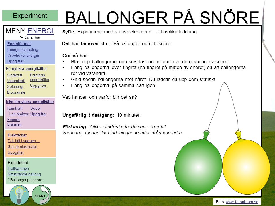 BALLONGER PÅ SNÖRE Experiment MENY ENERGI