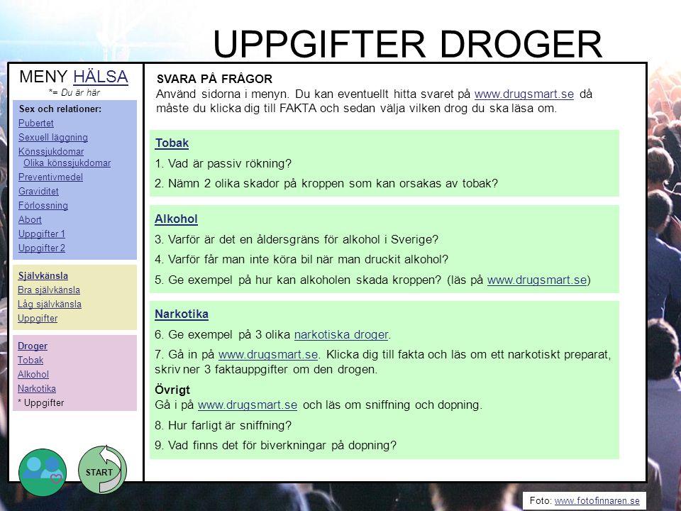 UPPGIFTER DROGER MENY HÄLSA SVARA PÅ FRÅGOR