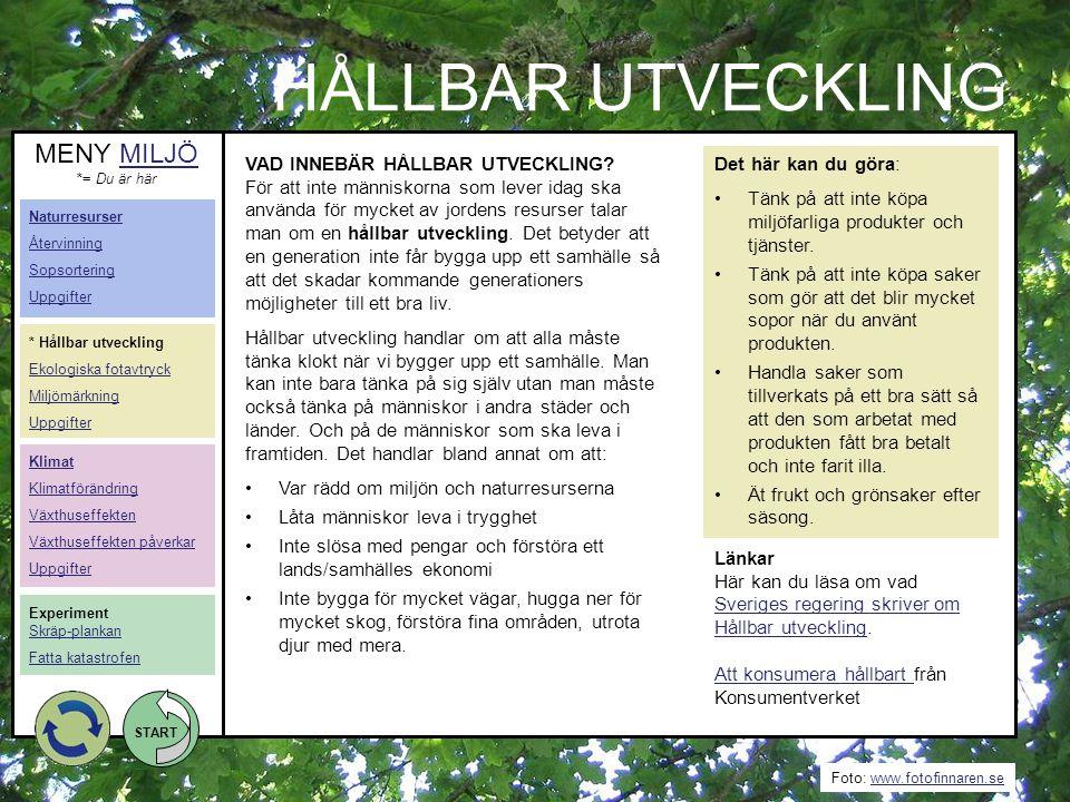 HÅLLBAR UTVECKLING MENY MILJÖ VAD INNEBÄR HÅLLBAR UTVECKLING