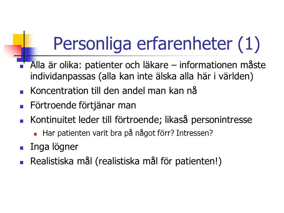 Personliga erfarenheter (1)