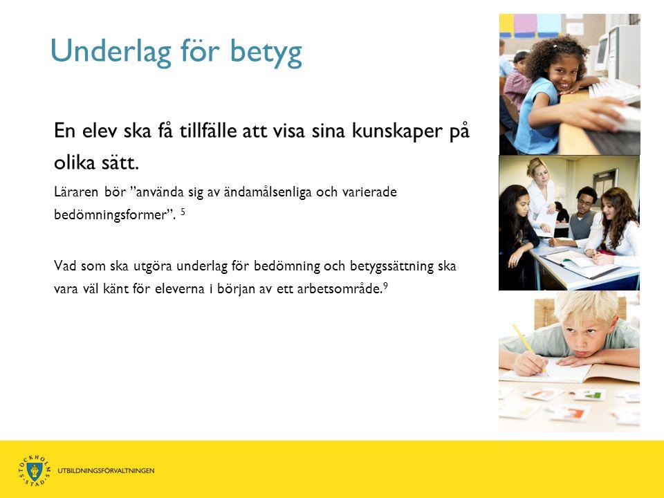 Underlag för betyg En elev ska få tillfälle att visa sina kunskaper på olika sätt.