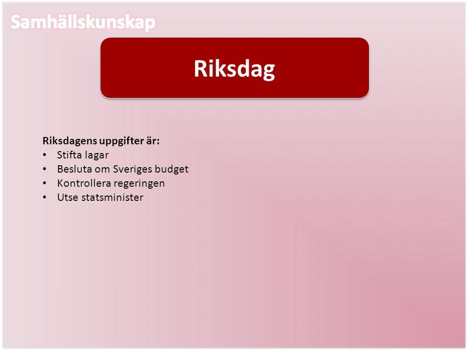 Riksdag Riksdagens uppgifter är: Stifta lagar