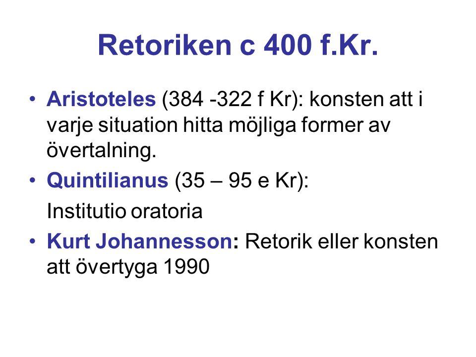Retoriken c 400 f.Kr. Aristoteles (384 -322 f Kr): konsten att i varje situation hitta möjliga former av övertalning.
