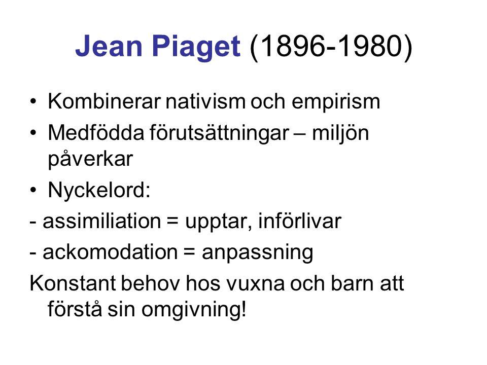 Jean Piaget (1896-1980) Kombinerar nativism och empirism