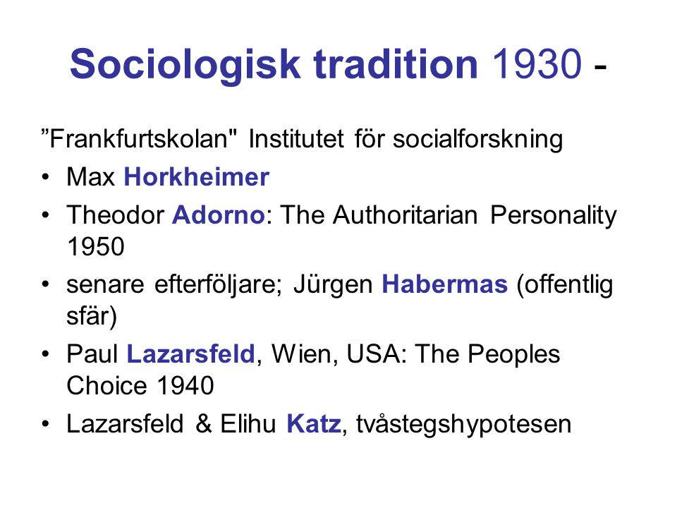 Sociologisk tradition 1930 -