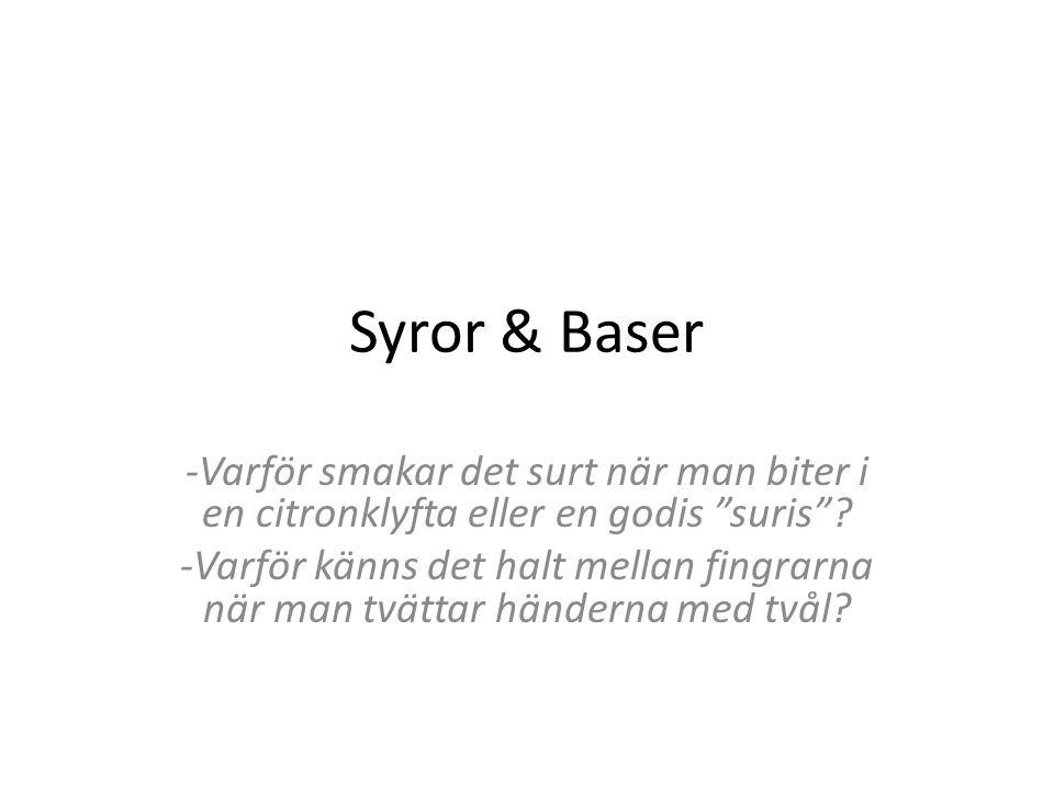 Syror & Baser -Varför smakar det surt när man biter i en citronklyfta eller en godis suris