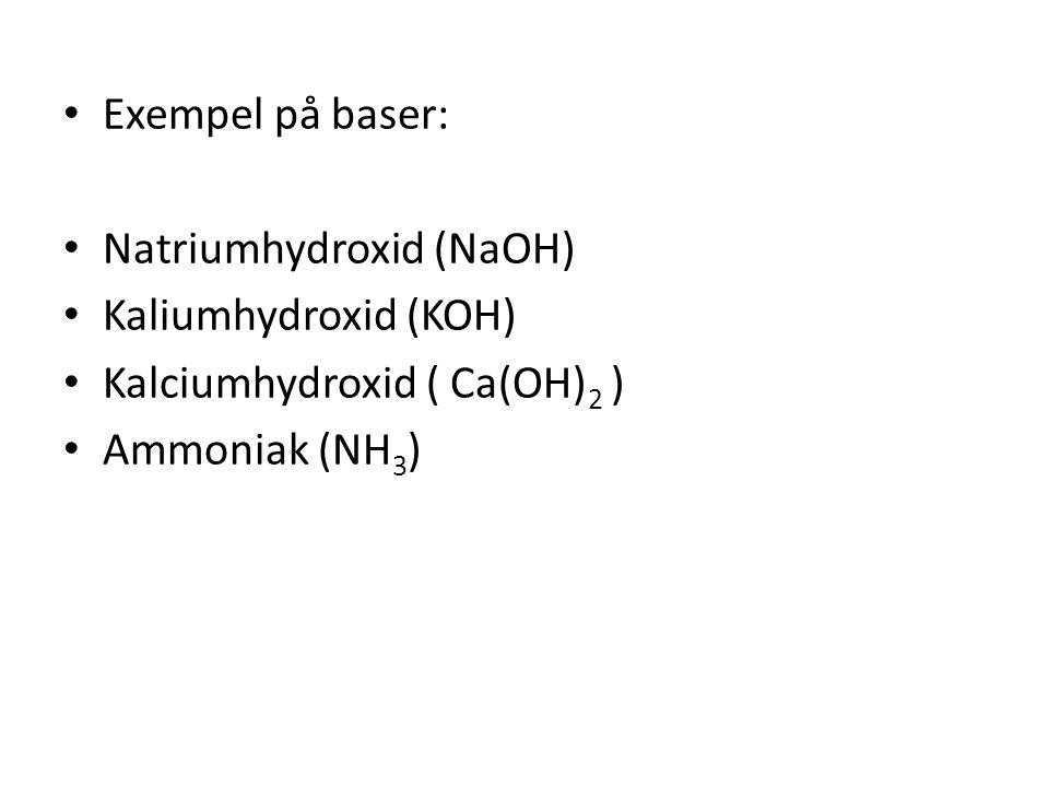 Exempel på baser: Natriumhydroxid (NaOH) Kaliumhydroxid (KOH) Kalciumhydroxid ( Ca(OH) 2 ) Ammoniak (NH3)