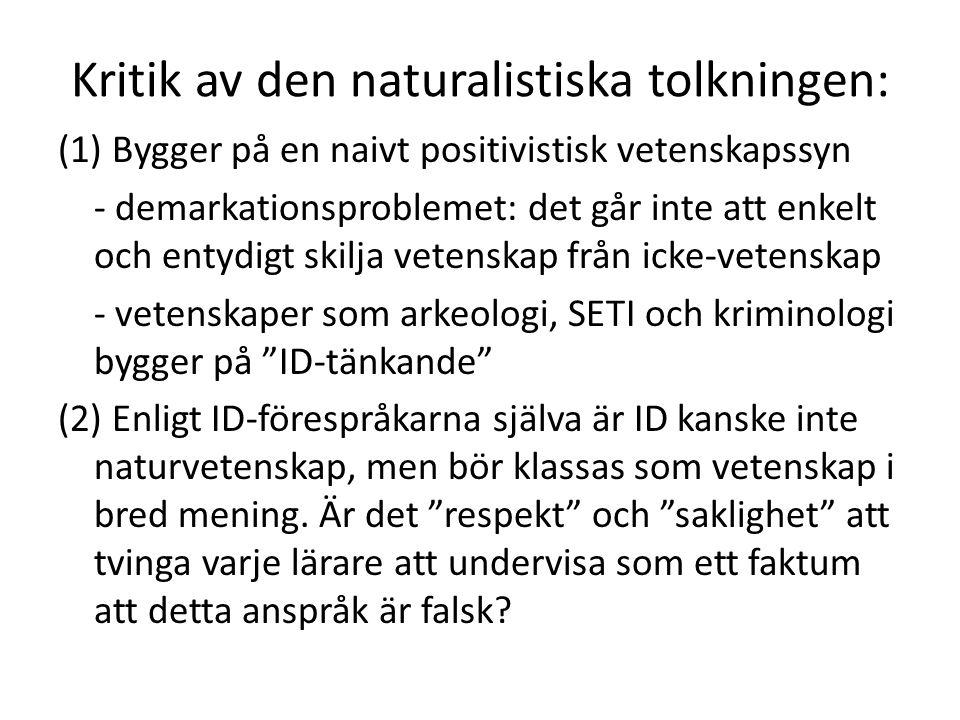 Kritik av den naturalistiska tolkningen: