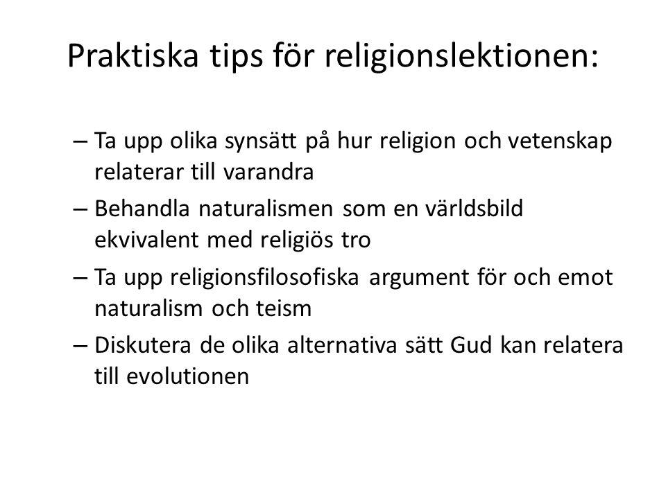 Praktiska tips för religionslektionen: