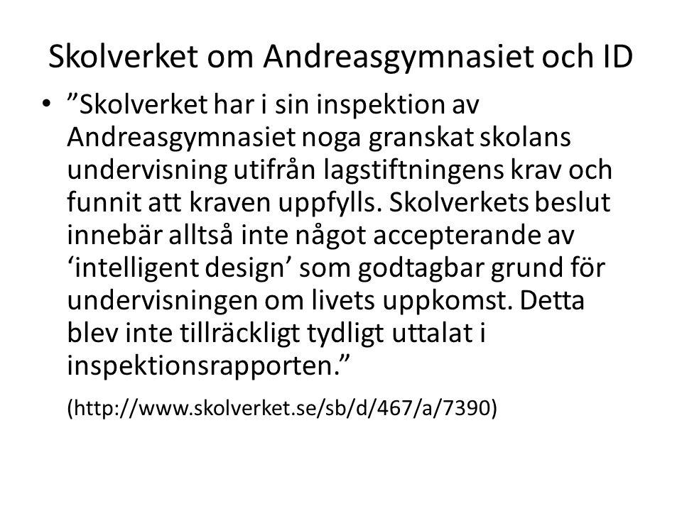 Skolverket om Andreasgymnasiet och ID