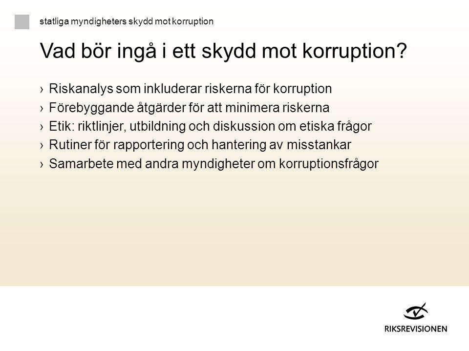 Vad bör ingå i ett skydd mot korruption