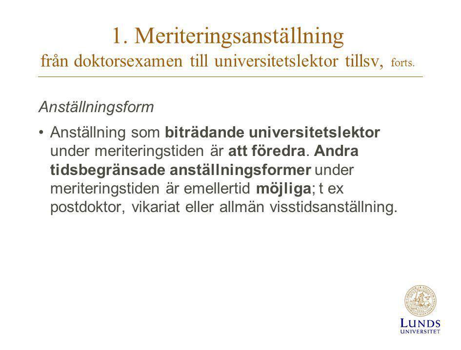 1. Meriteringsanställning från doktorsexamen till universitetslektor tillsv, forts.