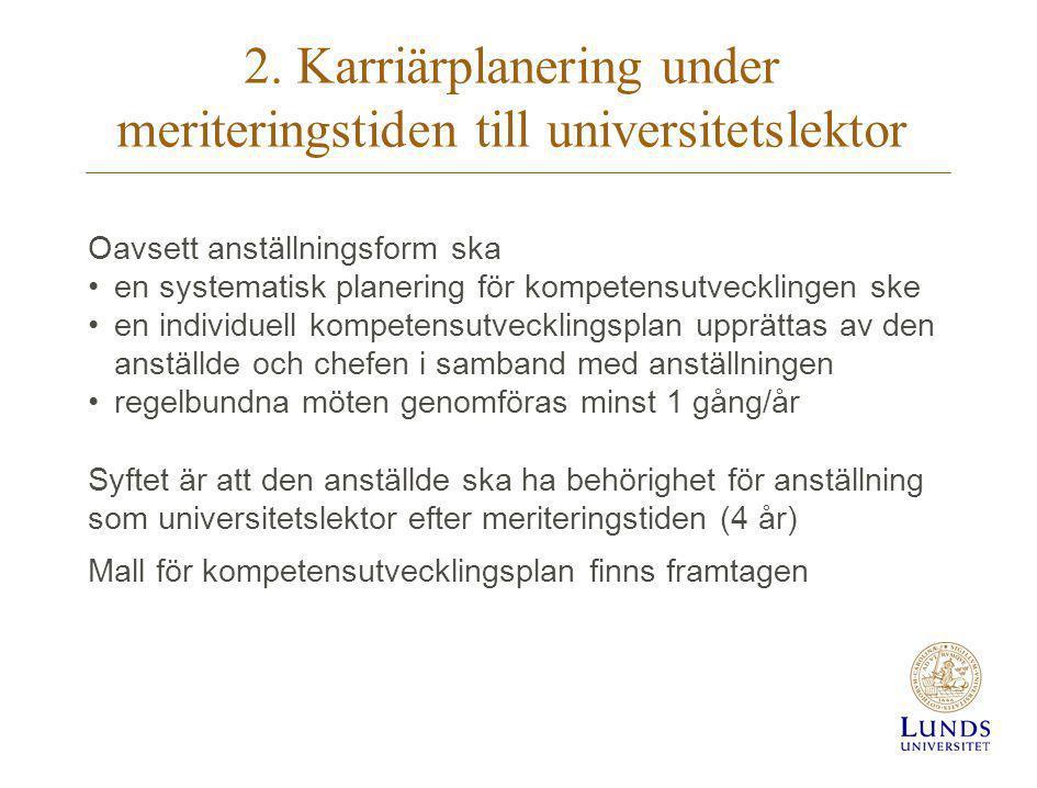 2. Karriärplanering under meriteringstiden till universitetslektor