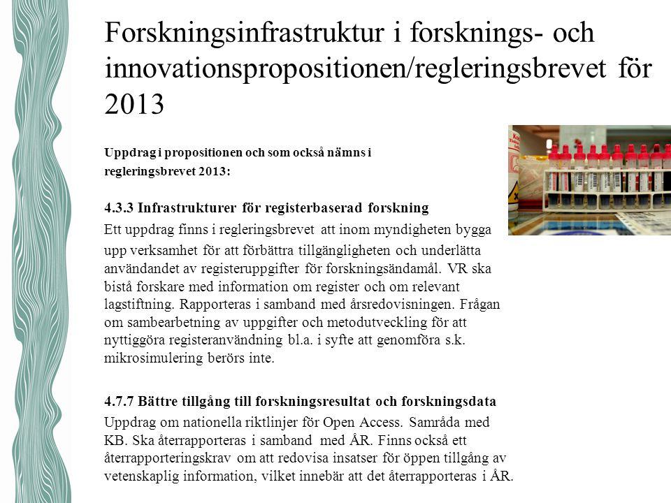 Forskningsinfrastruktur i forsknings- och innovationspropositionen/regleringsbrevet för 2013