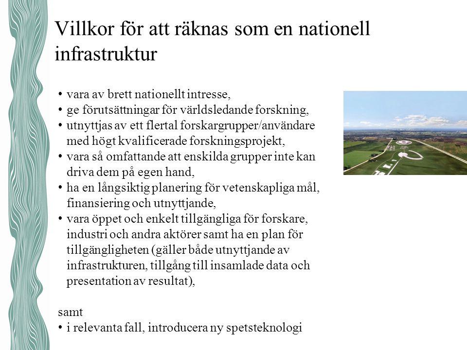 Villkor för att räknas som en nationell infrastruktur