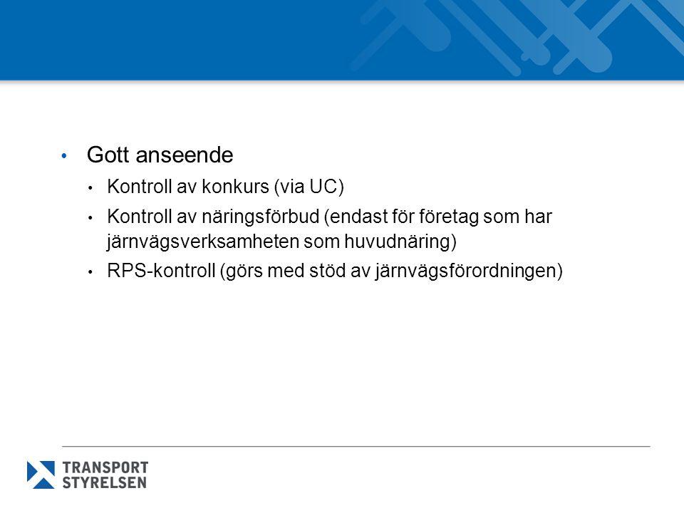 Gott anseende Kontroll av konkurs (via UC)