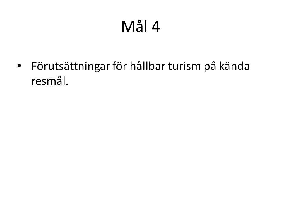 Mål 4 Förutsättningar för hållbar turism på kända resmål.