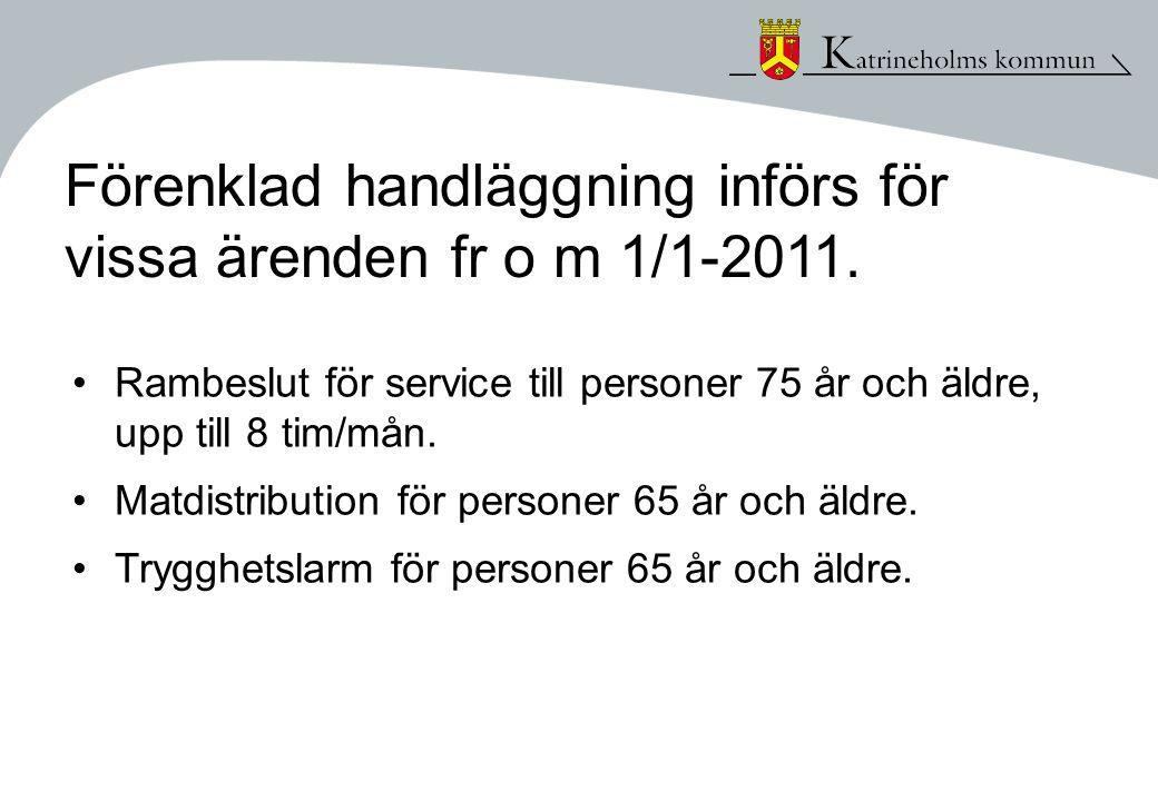Förenklad handläggning införs för vissa ärenden fr o m 1/1-2011.