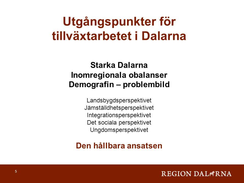 Utgångspunkter för tillväxtarbetet i Dalarna Inomregionala obalanser