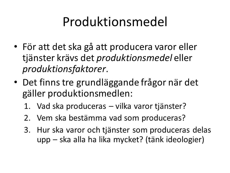 Produktionsmedel För att det ska gå att producera varor eller tjänster krävs det produktionsmedel eller produktionsfaktorer.
