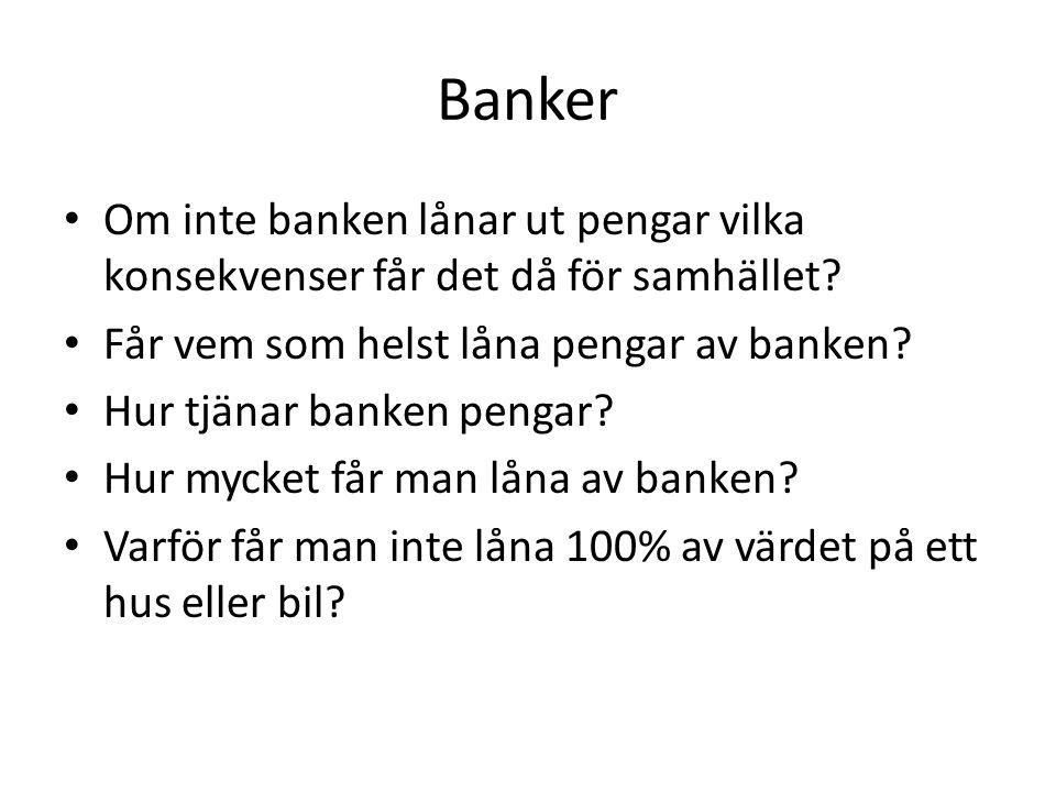 Banker Om inte banken lånar ut pengar vilka konsekvenser får det då för samhället Får vem som helst låna pengar av banken