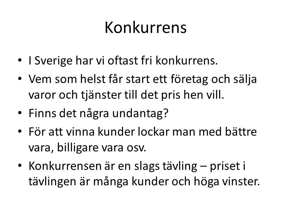 Konkurrens I Sverige har vi oftast fri konkurrens.