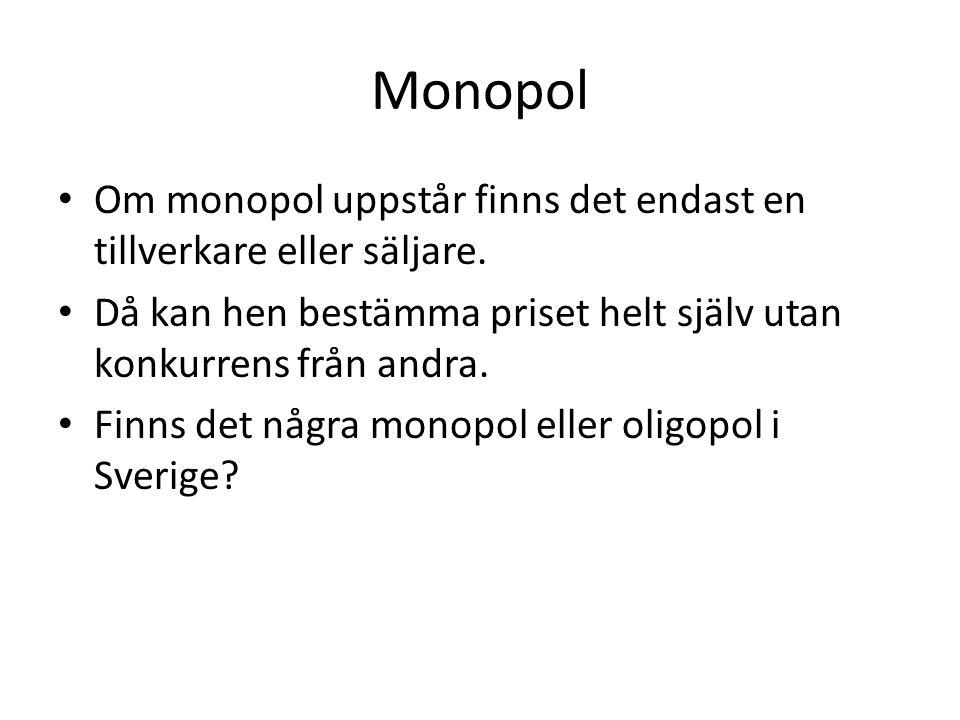 Monopol Om monopol uppstår finns det endast en tillverkare eller säljare. Då kan hen bestämma priset helt själv utan konkurrens från andra.
