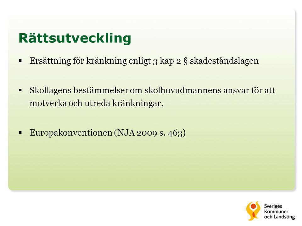 Rättsutveckling Ersättning för kränkning enligt 3 kap 2 § skadeståndslagen.