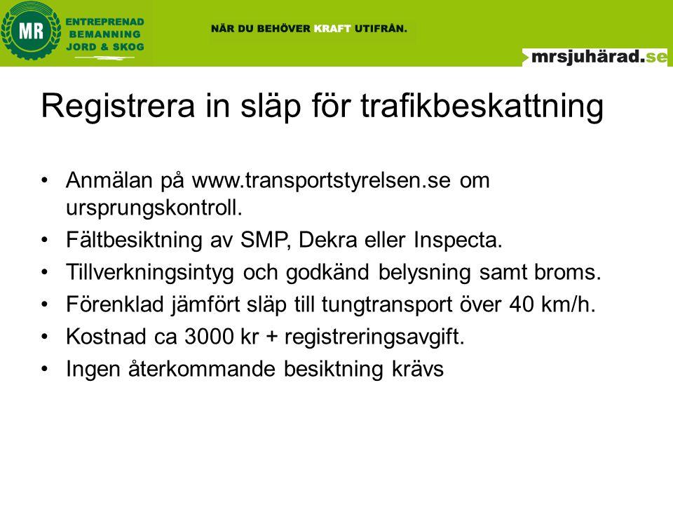 Registrera in släp för trafikbeskattning