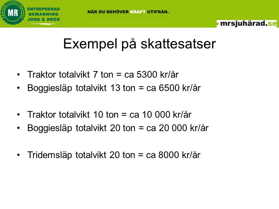 Exempel på skattesatser