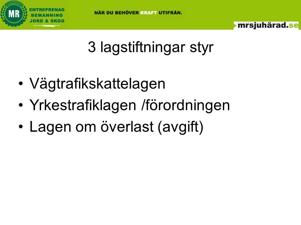3 lagstiftningar styr Vägtrafikskattelagen. Yrkestrafiklagen /förordningen.