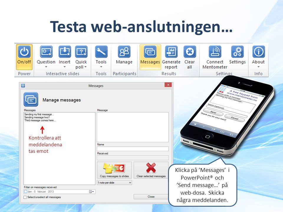 Testa web-anslutningen…
