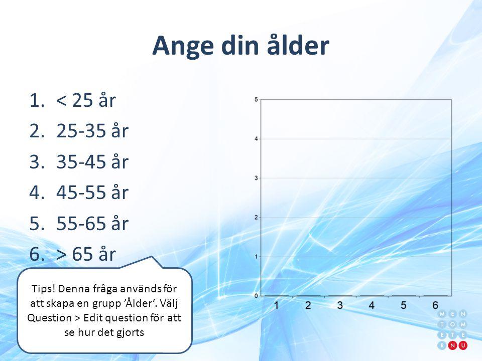 Ange din ålder < 25 år 25-35 år 35-45 år 45-55 år 55-65 år