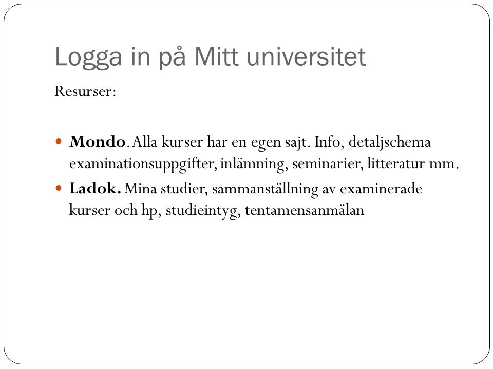 Logga in på Mitt universitet