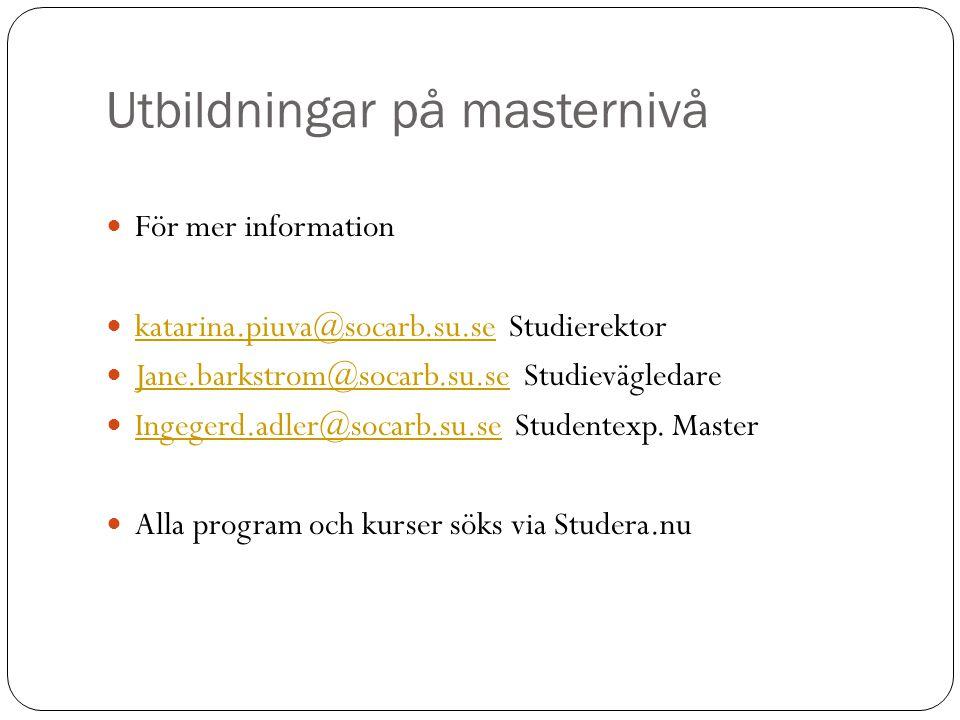 Utbildningar på masternivå