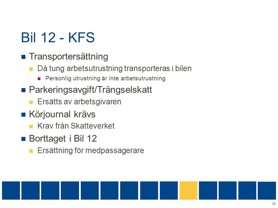Bil 12 - KFS Transportersättning Parkeringsavgift/Trängselskatt