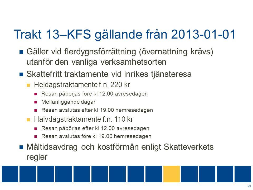 Trakt 13–KFS gällande från 2013-01-01