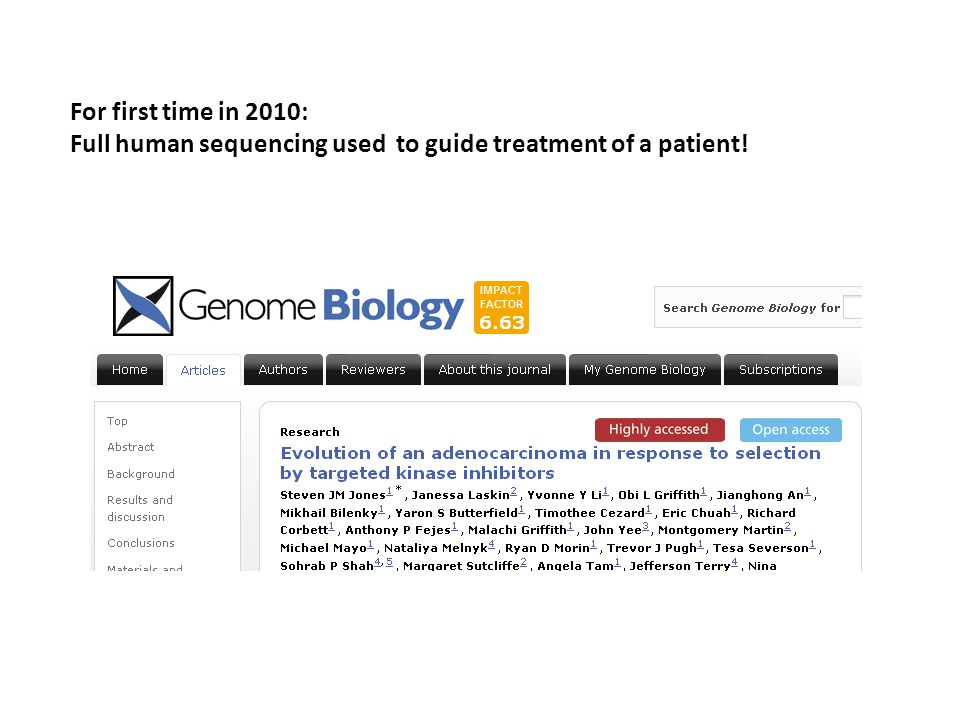For first time in 2010: Full human sequencing used to guide treatment of a patient!