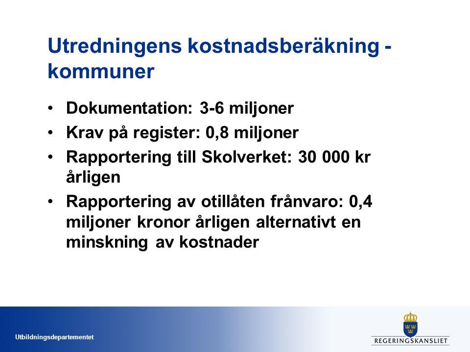 Utredningens kostnadsberäkning - kommuner