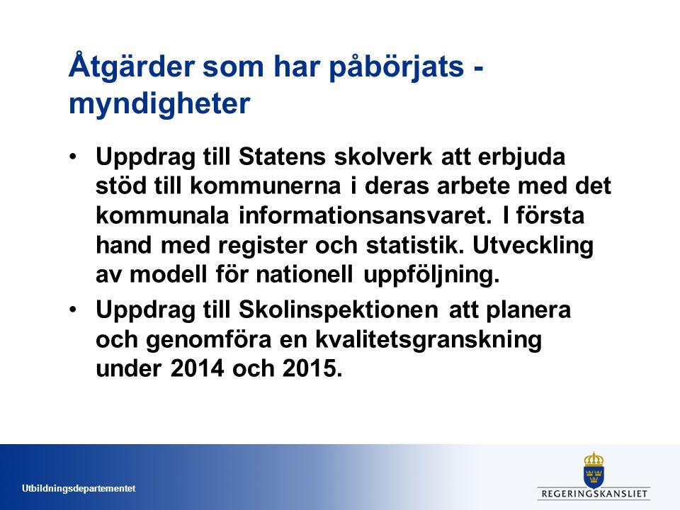 Åtgärder som har påbörjats - myndigheter
