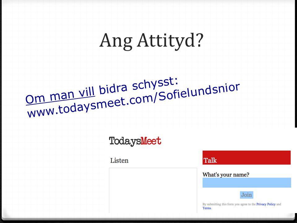 Ang Attityd Om man vill bidra schysst: