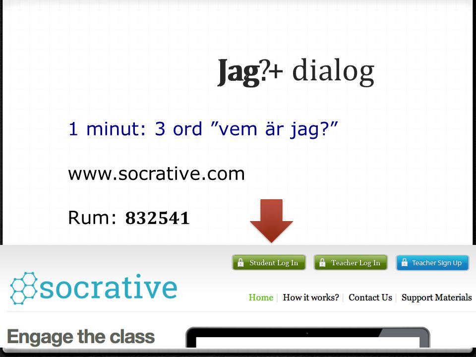 Jag. Jag Jag + dialog 1 minut: 3 ord vem är jag www.socrative.com