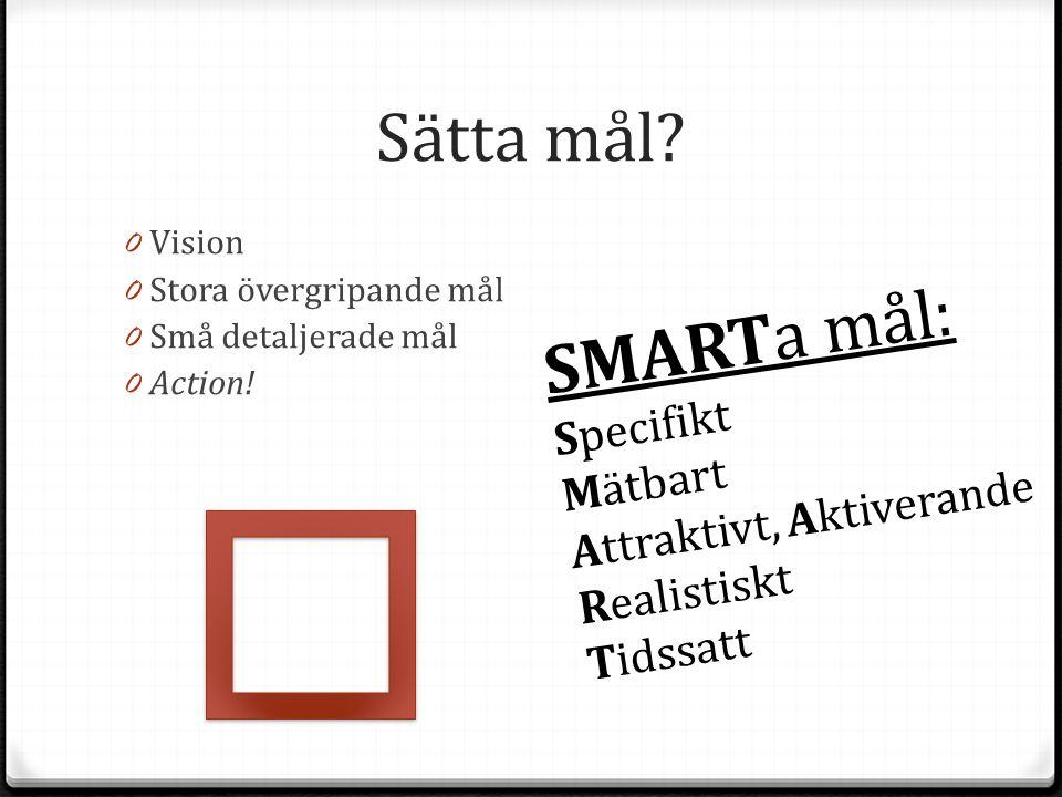 Sätta mål SMARTa mål: Specifikt Mätbart Attraktivt, Aktiverande