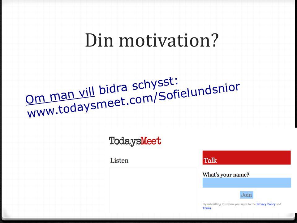 Din motivation Om man vill bidra schysst: